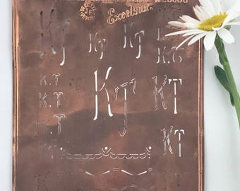 KT Large Vintage European Copper Monogram Dowry Stencil 9033