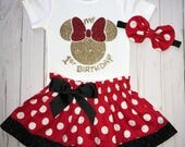 Glitter Minnie Mouse, Cake Smash Outfit, Baby Girl 1st Birthday Outfit, Knot Bow Headband, Complete Baby Onesie Skirt Set, Red Bow Minnie
