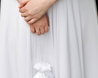 Bridal Drawstring Satin Bag With Pearl Beading, Wedding Money Purse
