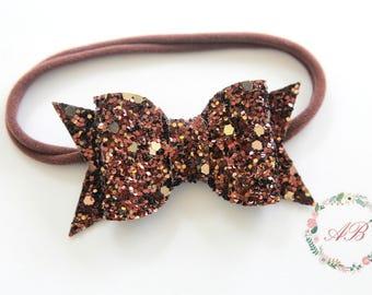 Brown Glitter Bow Headband - Baby Bow Headband - Glitter Bow Headband - Brown Bow Headband - Fall Bow Headband - Baby Fall Bow