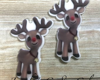 42mm, Reindeer Resins, Rudolph, Planar Resins, Christmas Resins, Holiday Resins, Flat Back Resins, Hair Bow Centers, Cabochons, 2PCS, (162)