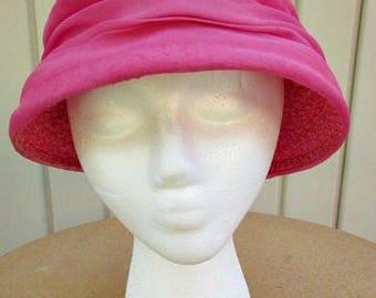 vintage 50s pink woven raffia bucket hat with chiffon trim   garden party hat