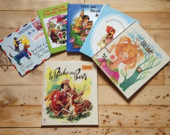 French Vintage Bedtime or Learning Children Books & French Text - Lot of 6 - Illustrated Tales