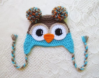 Medium Brown and Turquoise Crocheted Owl Hat - Winter Hat or Photo Prop - Available in Any Size or Color Combination