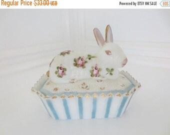 30% OFF SALE Vintage Rabbit Milk Glass Bunny on Basket Trinket Box Hand Painted Floral Candy Dish (1)