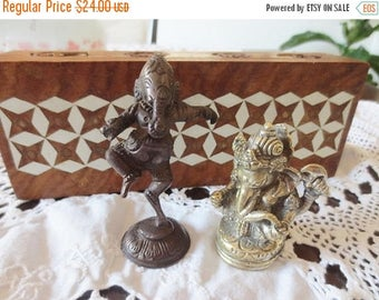 30% OFF SALE Ganesha Figurines Wood Inlay Box Hindu India Ganesh Deity Home Décor Vintage Collectibles Lot