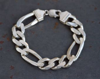 Chunky Figaro Chain Bracelet - Sterling Silver Punk Bling