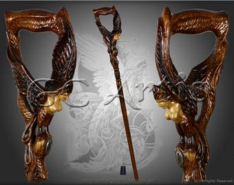 GAMAYUN BIRD Fantasy walking stick cane solid wood handle handcarved crafted authors made top art