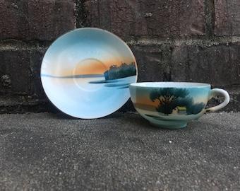 Lake Scene Teacup and Saucer