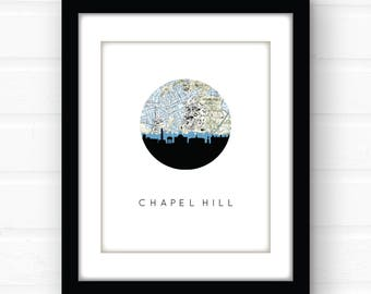 Chapel Hill print | Chapel Hill map art | Chapel Hill North Carolina wall art | dorm room decor | graduation gift | North Carolina art print