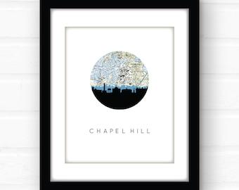 Chapel Hill print | Chapel Hill map art | Chapel Hill North Carolina wall art | dorm room decor | graduation gift | North Carolina art print