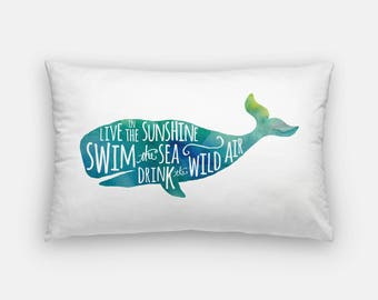 live in the sunshine | watercolor pillow | ralph waldo emerson quote art | drink the wild air | nautical decor | whale pillow home