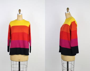 80s Rainbow Sweater / Striped Pullover / Vintage Jumper / Size M/L