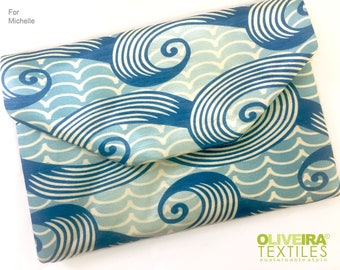Custom Clutch - 'Spiral Tide' pattern, hemp silk, for Michelle