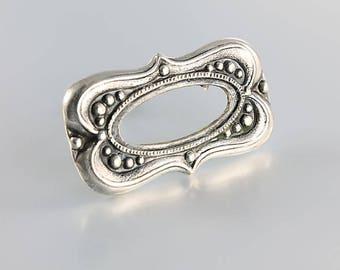 Etruscan Brooch, Silver Bead 875 Bar Brooch pin, Vintage Russian jewelry