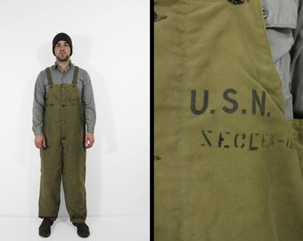 Vintage WWII USN Deck Pants 1940s US Navy Wool Lined Overalls - Large