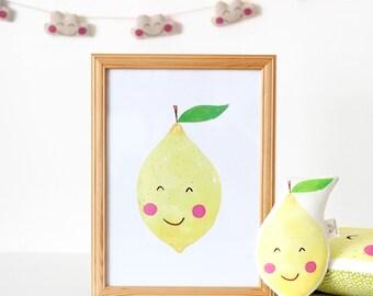 Lemon Nursery Print, Nursery Decor, Kawaii Lemon Print, Fruit Print, Nursery Print Fruit, Lemon Illustration
