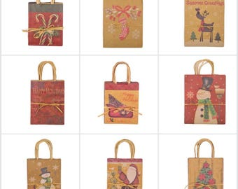 Assorted Christmas Holiday Gift Bags. Gusseted Kraft Paper Gift Bags with handles. 3 Sizes, multiple designs. Holiday Gift Wrap. Packaging