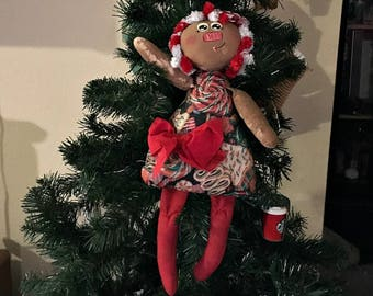 Handmade Whimsical Primitive Candy Cane Annie Cloth Doll  Wall Doll Decor
