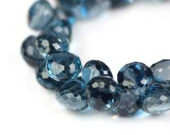SUMMER SALE London Blue Topaz Micro Faceted Onion Briolettes 1 Deep Steely Blue Semi Precious Gemstones