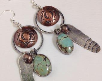 Handmade Hoop Earrings, southwestern, Boho, Light Blue Turquoise Earrings, Concho, Feather Earrings