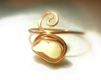 Aragonite Toe Ring//Focus//Positive Vibes//Adjustable//Copper