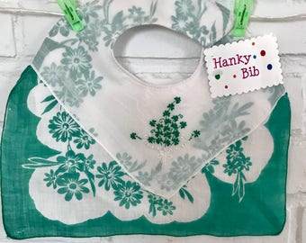 Baby Bib, Saint Patrick's Day, Irish Handkerchief Baby Bib, Shamrocks, Green Hanky Bib for Baby
