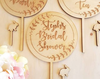 Custom Bridal Shower Cake Topper Rustic Wood Wedding Engagement Bride Personalised