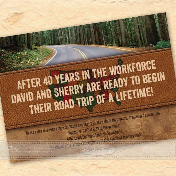 retirement party invitations, retirement party, road trip, road tripping, see the world, travel, retirement announcement, IN589