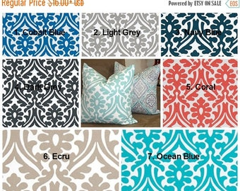 FALL is COMING SALE Outdoor Pillow Covers Holly Floral Blue Coral Cobalt Navy Ecru Outdoor  Deck Patio Pillow Covers Choose Size