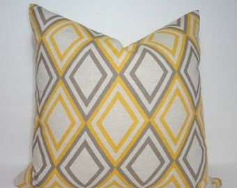 SPRING FORWARD SALE Decorative Accent Pillow Cover Yellow & Grey Diamond Geometric Pillow Cover Size 18x18