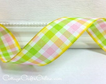"Wired Ribbon 1 1/2"",  Pink, Yellow, Green White Gingham Check - TEN YARD ROLL -  ""Sherbet Check"" Plaid  Spring, Summer Wire Edged Ribbon"