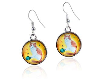 Cat Earrings - From My painting, Paw in the Paint - Yes, Salvador Really Does Paint!