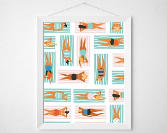 Retro Summer Print - mid century modern palm springs pool tropical pool sunbather beach towel poster wall art deco tanning tan surf retro