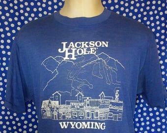1980's Jackson Hole t-shirt, SOFT & THIN, fits like a roomy large