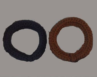 Dog Toys. Set of 2 Hand Crocheted Dog Rings. Blue and brown.