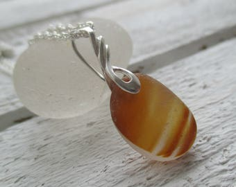 Caramel End Of Day Sea Glass Sterling Silver Necklace
