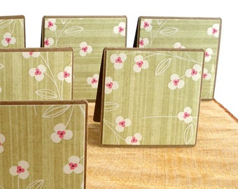 Green Floral Mini Note Cards, Kraft Gift Enclosure Cards, Hand Made Cards, Tiny Greeting Cards, 8 Gift Notes, Petites Cartes de Voeux