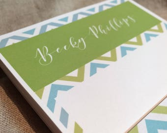 Personalized Seafoam Green and Sea Blue Chevron Patterned Note Pad