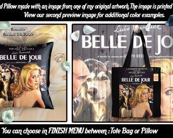Saluki Pillow or Tote Bag/Saluki Art/Saluki Portrait/Dog Tote Bag/Dog Pillow/Dog Art/Custom Dog Portrait/BELLE DE JOUR Movie Poster