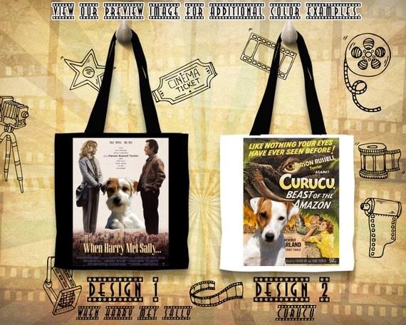 Parson Russell Terrier Tote Bag/Terrier Portrait/Terrier Art/Personalized Bag/Custom Dog Portrait/Movie Poster/Curucu/When Harry Met Sally