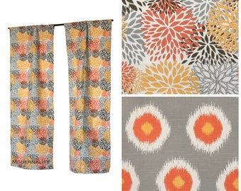 Custom Drapes- Pair of Drapery Panels- Chili Pepper Orange Curtains- Floral Curtains- Ikat Curtains- Orange Window Treatments- Cafe Curtains