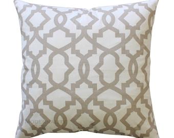 Throw Pillow Cover, Ecru Toss Pillow, Beige Pillow Case, Taupe Sheffield Pillow, Trellis Pillow, Zippered Pillow, Tan Bed Pillows, Cushion