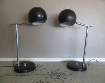 Black and Chrome Atomic Eyeball Table Lamps Industrial Black Mid Century Mod Lamps Eames Era Lighting