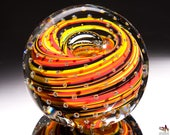 Handcrafted Art Glass Paperweight - Hot Color Streaks with Bubble Grid