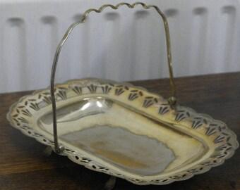 antique silver plate serving bowl dish