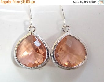 SALE Peach Earrings, Blush, Glass Earrings, Coral, Champagne, Bridesmaid Jewelry, Silver, Bridesmaid Earrings, Bridal Jewelry, Bridesmaid Gi