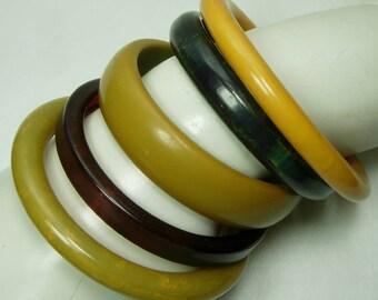 Stack 5 Bakelite Bangles Marbled Blue Moon Pea Green Tea Root Beer Corn Bracelets