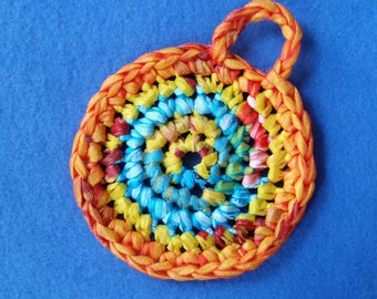 Colorful Plarn Dish Scrubby, recycled plastic bags, eco-friendly dish scrubber pot scrubber