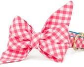 Crew LaLa ™ Hot Pink Picnic Plaid Belle Bow Dog Collar